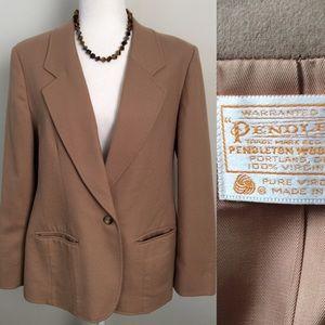 Pendleton Blazer Jacket Camel Tan 100% Wool Sz 14